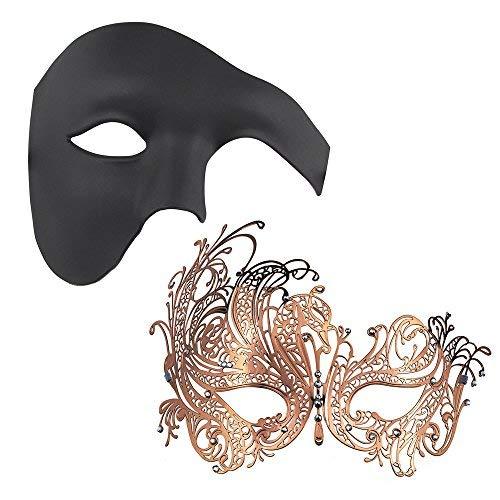 Thmyo 2 Stücke Paar Gorgeous Masquerade Masken, Half Face Venezianische Partei Kostüme Maske (Rose Gold + ()
