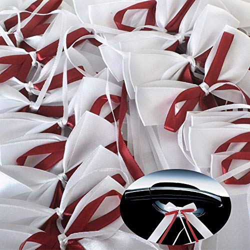 Yulakes 50pcs Weiss & bordeaux Autoschleifen aus Satin Hochzeit Antennenschleifen Dekoration für Hochzeit,Hochzeit Deko, Weiss Autoschmuck Autoschleifen