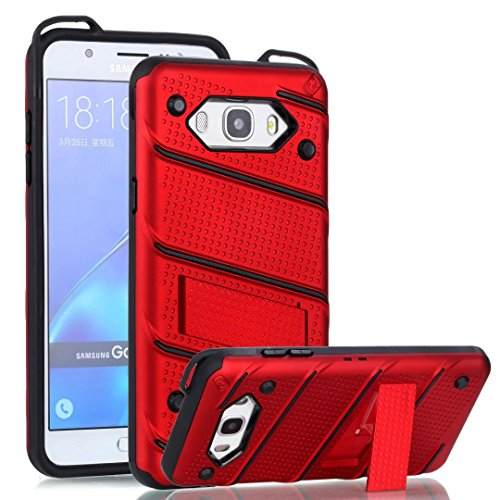 EKINHUI Case Cover Dual Layer Hybrid Armor Schutzhülle Shockproof Stoßfänger mit Kickstand für Samsung Galaxy J7 2016 ( Color : Gold ) Red