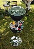 Tischkicker mit Getränkekühler Partytisch Stehtisch 120 cm (schwarz) -