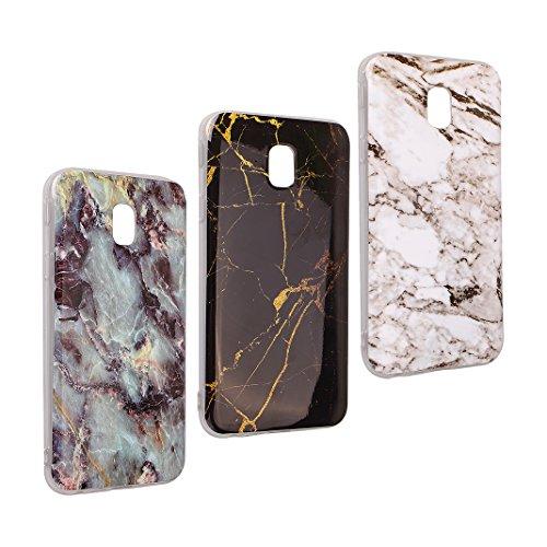 Galaxy J5 2017 Marmor Handyhülle, Asnlove 3 Pack Premium TPU Silikon Marble Hülle Protective Back Case TPU Silicone mit 3D Muster Handy Schutzhülle Cover für Samsung Galaxy J5 2017