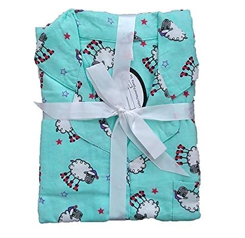 Ladies Wincyette 100% Cotton Brushed Pyjamas 105887 Aqua Sheep 14-16