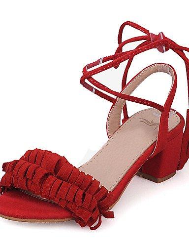 LFNLYX Scarpe Donna-Sandali-Matrimonio / Formale / Serata e festa-Tacchi / Aperta / Cinturino alla caviglia-Quadrato-Finta pelle-Nero / Rosa / Pink