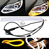 AllExtreme 2PCS 60cm (24') Car Headlight LED Tube Strip, Flexible DRL Daytime Running Silica Gel Strip Light, DC12V Soft Tube Lamp for Universal For Motorcycle And Cars ( Yellow- White )