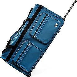 Deuba XXL Reisetasche   mit Trolleyfunktion   Rollen mit Kugellager   Teleskopgriff   abschließbar 160 Liter in Blau Sporttasche Reisetrolley Gepäcktasche