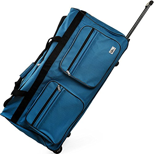 Travel Duffel Bag 160Liter Blue Wheeled Luggage Castors Gym Sport Camping Large Lightweight Telescopic Handle
