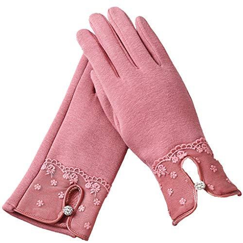14eb9160165d73 Minzhi 1 Paar Touch Screen Winter Handschuhe Frauen Mädchen im Freien  Reithandwärmer Blumen Fuzzy-Kugel
