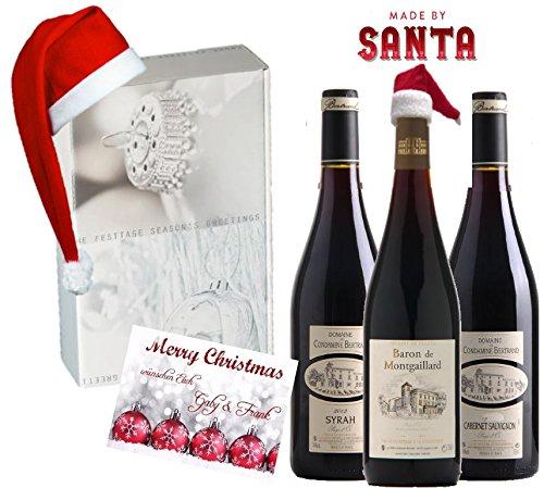 Preisvergleich Produktbild Made by Santa | Weinpräsentbox Christmas | Das Luxusgeschenk zu Weihnachten | Frankreich Bordeaux | 3er Set X-mas in Geschenkset Silber-Schnee Weiss mit Zipfelmütze / Weihnachtsmütze