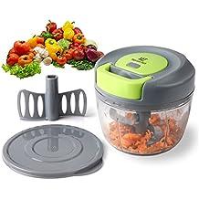 Magiclux tech picadora manual 3 cuchillas,mini picadora de carne cortador cebolla picador de verduras para Picar Frutas, Frutos Secos, Hierbas,Cebolla, la Salsa, Ensalada(750ml)