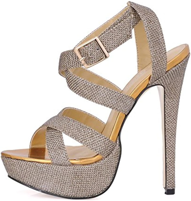 Best 4U® Frauen High Heels Stiletto Gummisohle Glitter Peep Toe 14CM Fersen Frühling Herbst Schuhe Golden