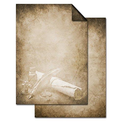 25 Blatt Briefpapier VINTAGE FÜLLER PAPIERROLLE DIN A4 altes Papier braun beige natur Druckerpapier beidseitig bedruckt 100g Schreibpapier Motiv-Papier Brief-Bogen marmoriert