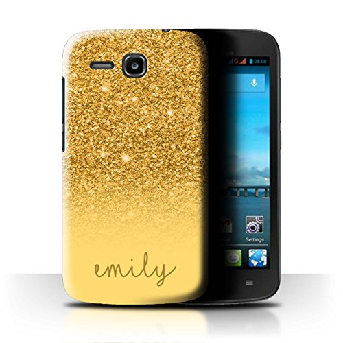 Stuff4® Personalisiert Individuell Glitter Effekt Hülle für Huawei Ascend Y600 / Gold Design/Initiale/Name/Text Schutzhülle/Case/Etui