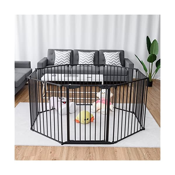 COSTWAY 6&8 Panel Baby Playpen Metal Foldable Design Multiple Use for Pet Fence, Room Divider, Yard Barrie, Fire Guard (8 Panels, Black) Costway 【Two installation modes】Our item have new 2 installation modes that it can be fully spliced as a circle or 2 sides unfurled to mounting on the wall. It can change flexibly according to your needs. It has the advantages of little space occupation, one object with multifunction, simple structure, and light weight. 【Safety door panel design】We have upgraded our door panel entirely to makes it safer. Different from the traditional straight opening door panel, our door panel has a special design that it needs to lift up while holding the switch to open it. 【Nail wall plastic parts set】Coming with a set of nail wall plastic parts, this set can meet your need to fix the item on the wall. When you want to change the installation mode, you can also leave these parts on the wall and only remove the item which will make your next installation more convenient. 6