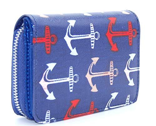 Geldbörse dunkelblau mit großen Ankern, klein mit Reißverschluss aus Metall, maritim