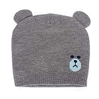 MK MATT KEELY Cute Bear Pattern Unisex Baby Winter Hats Newborn Toddler Beanie with Ears Warm Caps for Autumn Winter 0-12 Months Baby Girl Boy Grey