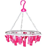 Nirency Plastic Round Clip Hanger for Cloth, Baby Cloth Drying Stand Hanger with 24 Clips/ Peg (Multi Colour)