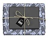 dabelino 4X Geschenkpapier: Rock n Roll/ Pommesgabel, Metal Hand (Zweifarbig Schwarz-Grau-Blau) inkl. Anhänger (für Rock Fans, Musiker, Männer, Frauen, Musiklehrer, Musikschüler, Humor, Lustig)