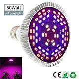 Pawaca 50W LED Pflanzenlampe Vollspektrum Pflanzen Licht Lampe, E27 Grow LED Pflanzenleuchte, Sonnenlicht in Gewächshäusern