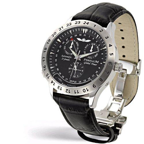 Perigaum 1972 Global Timer Reloj elegante para hombres Escala de Ciudades Ajustable