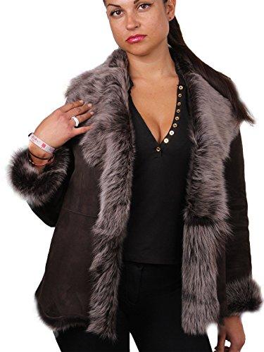 Braun Silber Damen Frauen weicher Echt Toscana Wildleder Schaffell Leder Jacken Mantel (Medium 10)