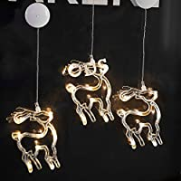 Gogogo Battery Operated Cool White LED Acrylic Snowflake Hanging Sucker Window Light Christmas Lamp Wedding Party-Elk