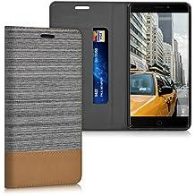 kwmobile Funda para Elephone P9000 - Case con tapa cover de tela con cuero sintético - Carcasa plegable gris claro marrón
