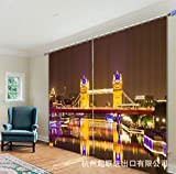 qcl3d Cortina Cortinas Cortinas Opacas Cortinas acabadas en Caliente Cortinas oscuras 3D Salón de la Sala de impresión Digital del Puente de la Torre de Londres, Ancho 150x Alto 166 (Dos Piezas)