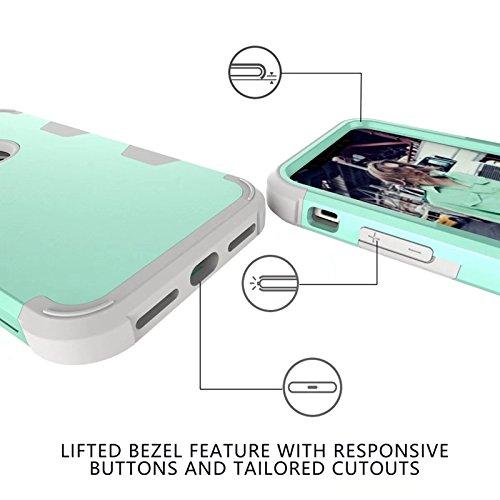 YHUISEN iPhone X Fall, Stoßdämpfung Drei-Schicht-Rüstung Defender [Heavy Duty] Robuste Hybrid Schutzhülle für iPhone X (2017) ( Color : Gray Orange ) Green Gray