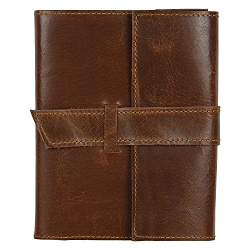 RUSTIC TOWN Refillable Handmade Vintage Antique Look Genuine Leather Bound Journal Diary Notebook Travel Book with Blank Unlined Pages to Write for Men Women Gift for Him Her