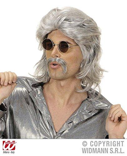 PERÜCKE - 70er JAHRE MANN - mit Schnurrbart *** NATURAL LOOK (Mit Hippie Und Schnurrbart Perücke Mann)