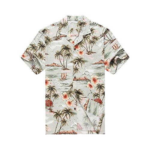 Hecho-en-Hawaii-Camisa-hawaiana-de-los-hombres-Camisa-hawaiana-3XL-Palmas-Flores-Casas-en-Gros