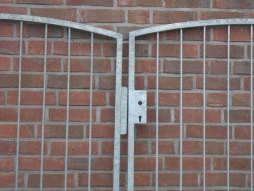 Hochwertiges, 2-flügliges Bogentor / Verzinkt / Einbau-Breite 350cm / Einbau-Höhe 150cm / Inklusive 2 Pfosten / Einfahrtstor Gartentor Hoftor