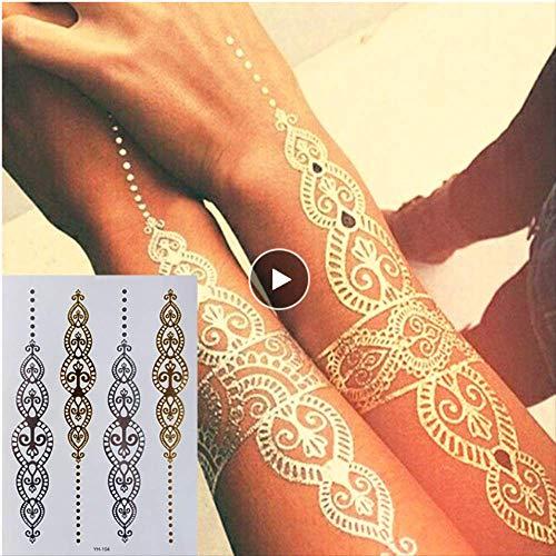 yyyDL Etiqueta engomada temporal colorida del tatuaje 3D Arte corporal pintura tatuaje pegatinas brillo metal oro plata flash temporal tatuaje desechables indios tatuajes 14 * 21 cm 4 piezas