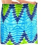 La Leela los hombres del traje de baño traje de baño sarong hawaiano pareo beachwear verde del abrigo azul
