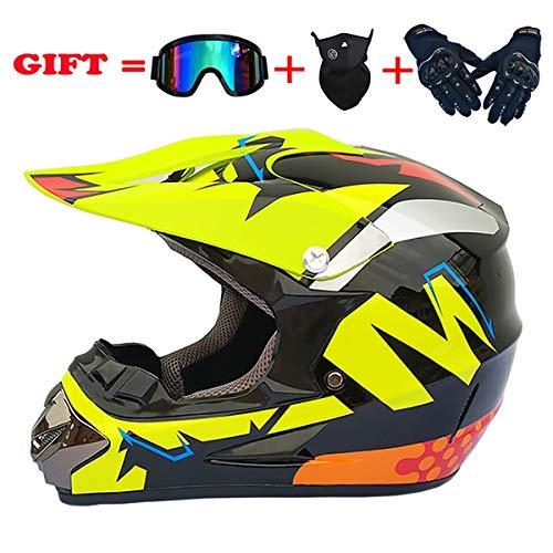 FIZZENN Outdoor Motocross Offroad Straße Dirt Bike Integralhelm Schutzbrille Handschuhe ATV Dirt Bike Helm, Bright Black Jump,XL