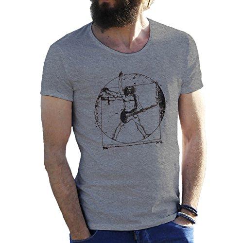 Banksy Da Vinci Vitruvian Man Rock Guitar Cool Art Herren T-Shirt Grau