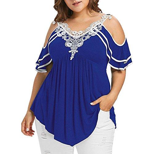 ZEELIY Sommer Große Größe Frauen Spitze Schulterfrei T-Shirt Kurzarm Casual Top Bluse V-Ausschnitt Tops Casual T Shirt Oberteile