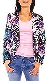 Damen Sommer Blazer Jacke Satinblazer Sakko Kurz Gefüttert Langarm Exotisch Floral Geblümt Blumen-Muster Marine-Rosa-Lila XL - 42