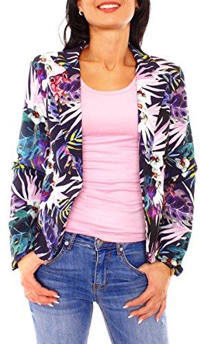 Damen Sommer Blazer Jacke Satinblazer Sakko Kurz Gefüttert Langarm Exotisch Floral Geblümt Blumen-Muster Marine-Rosa-Lila S - 36