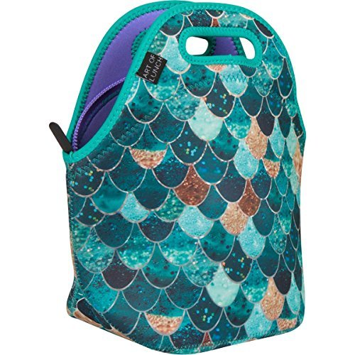 Neoprene Lunch Bag by ART OF LUNCH - Large [12 x 12 x 6.5 ] Gourmet Insulating Lunch Tote - A Partnership with Artists Around the World - Design by Monika Strigel (Germany) - Really Mermaid (Tote Artist Bag)