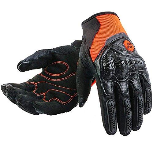 ARTOP Motorradhandschuhe Sommer, Touchscreen Motorrad Handschuhe Vollfinger Leder für Herren Damen Unisex(Orange,L)
