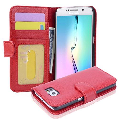 Cadorabo - Book Style Hülle für Samsung Galaxy S6 (SM-G920F NICHT für EDGE) - Case Cover Schutzhülle Etui mit 3 Kartenfächern in INFERNO-ROT
