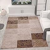 Teppich Wohnzimmer Kurzflor Modern Meliert Kariert Marmor Muster Braun Beige, VIMODA, 120x170 cm