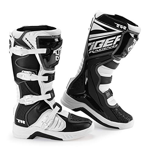 XSWE Motocross Stiefel Motorrad Schuhe Racing Stylist Ankle Boot, wasserdicht und Rutschfeste Track Boots für Straßenrennen Radfahren Sports Racing Men,Black&White,UK6(EU39)