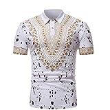 T-Shirt Africain, Malloom Chemise à Manches Courtes à Manches Courtes pour Hommes (2XL, Blanc-3)