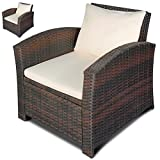 MIADOMODO Einzelsessel aus Polyrattan | 2er Set | Farbwahl | Premium Lounge Sessel | Lounge Sofa | Gartenmöbel | Rattan Sessel | Balkonmöbel Farbe Braun