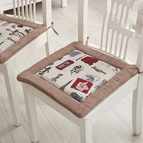 F-LFJBK Quadratische Schwamm Sitzkissen,Thicken Anti-Slip Lounge Soft Dining Chair Seat Pad Mit Krawatten,Baumwolle Und Leinen Rahmen Form Lumbar Matte Butt Kissen-d 40x40cm(16x16inch)