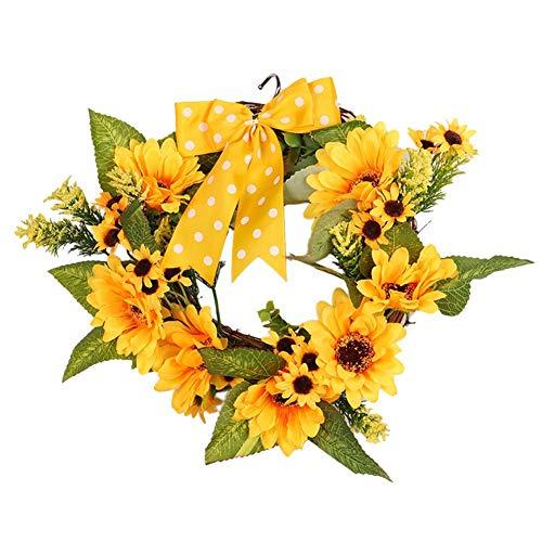 iStary Künstliche Sonnenblume Kranz Gelbe Sonnenblumen Wand Dekor Thanksgiving Hippie Haar Hochzeit Kopfkranz Karnevalskostüme Accessoires Dekorative Kranz