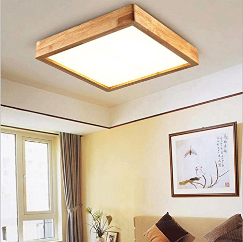 Holz-quadrat-lampe (FJ-24W LED kreative Persönlichkeit von massivem Holz Decke Lampe Wohnzimmer Schlafzimmer Acryl Quadrat Hallenlampe 35 cm * 35 cm * 9cm220V-240V , white light)