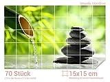 Graz Design 761739_15x15_100 Fliesenaufkleber Steine - Bambus für Kacheln | Bad-Fliesen mit Fliesenbildern überkleben (Fliesenmaß: 15x15cm (BxH)//Bild: 150x100cm (BxH))